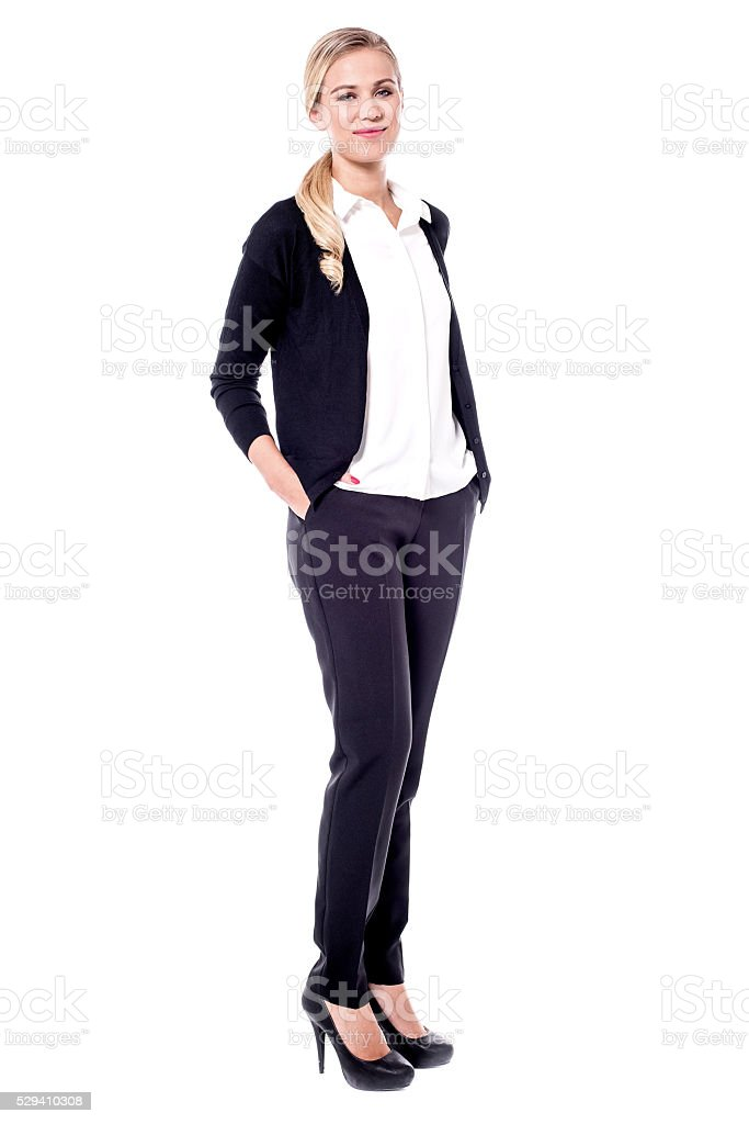 Full length portait of business woman stock photo