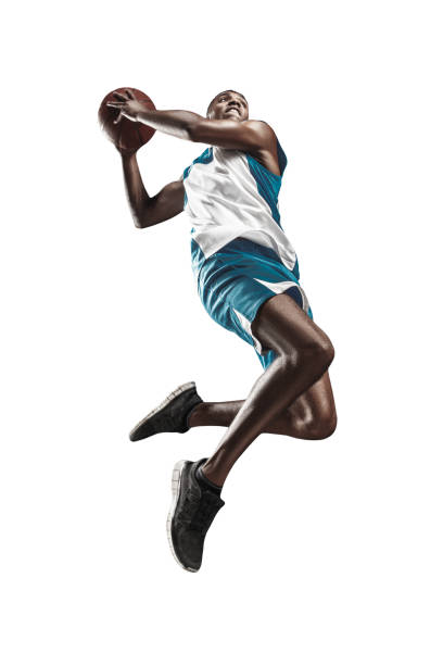 Full length portrait of a basketball player with ball - foto stock