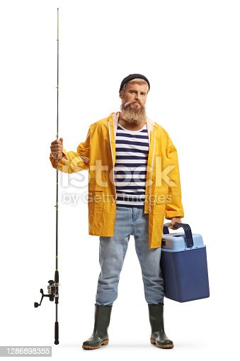 istock Full length portrait of a bearded fisherman holding a fishing rod and a fridge 1286898355