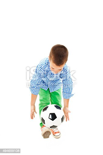 621475196 istock photo Full length portrait of a boy with a soccer ball 494659108