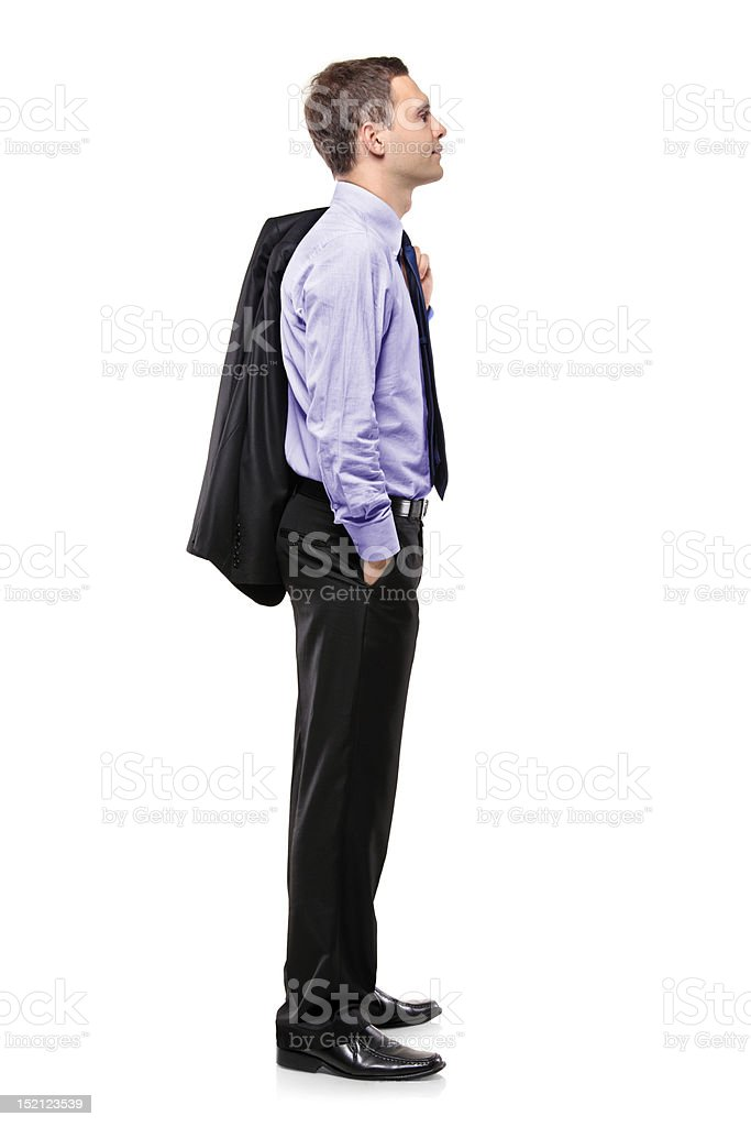 Full length portrait of a businessman waiting in line stock photo
