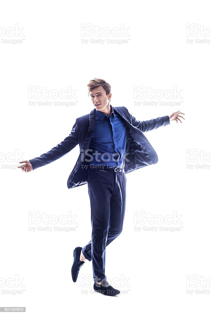 Full length portrait of a casual young man. photo libre de droits