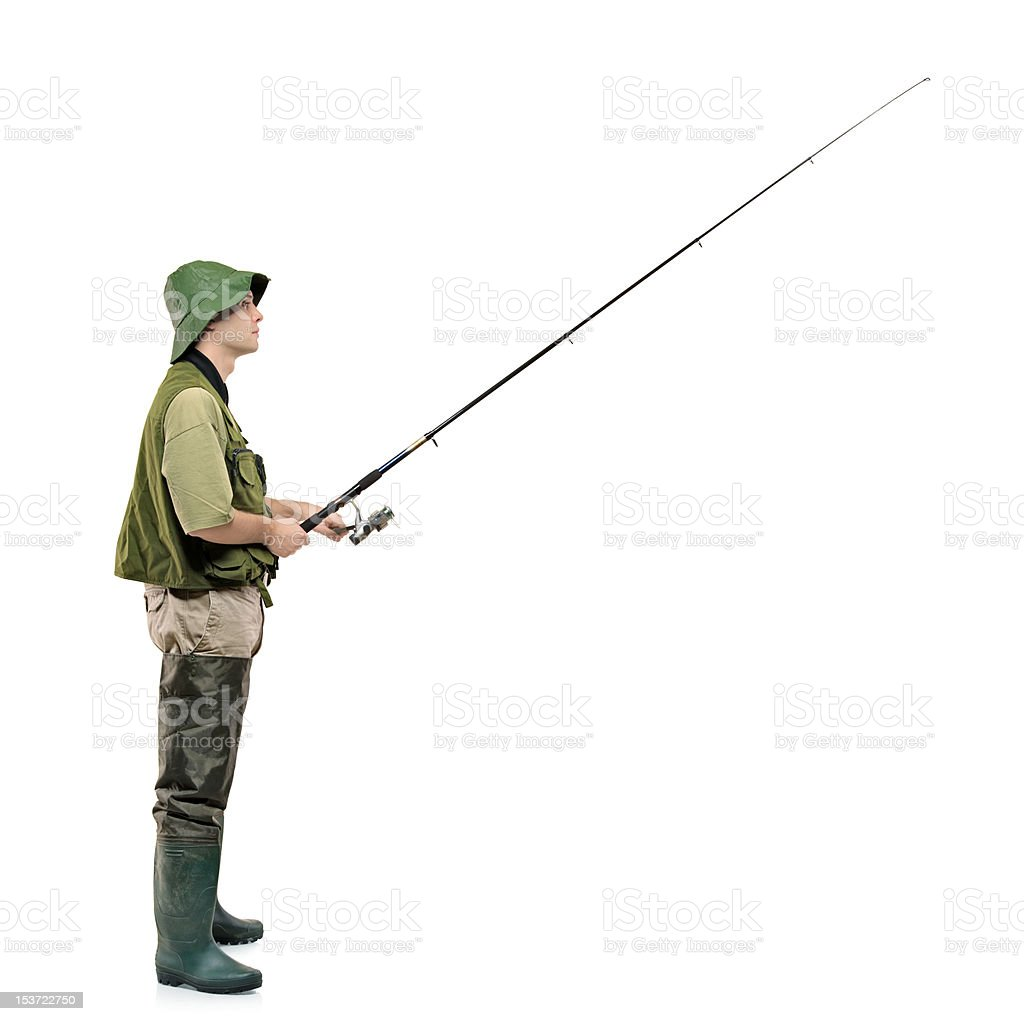 Full length portrait of a fisherman stock photo