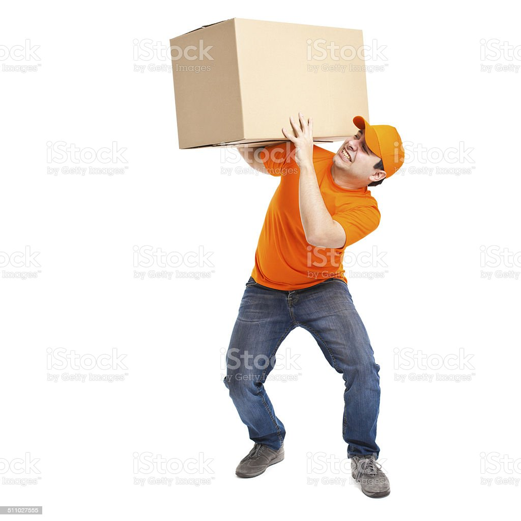 Full length portrait of a funny deliverer lifting box stock photo