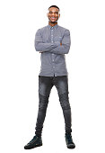 istock Full length portrait of a happy african american man 521107669