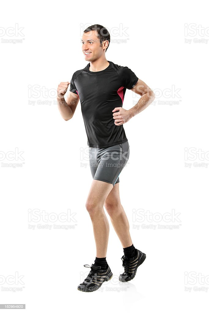 Full length portrait of a male athlete running royalty-free stock photo