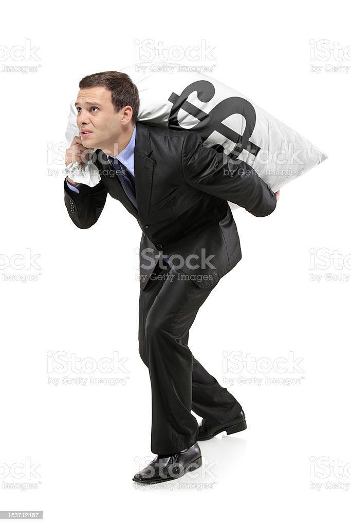 Full length portrait of a man carrying bag stock photo