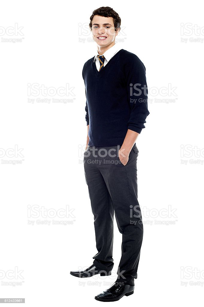 Full length portrait of a school going youngster stock photo
