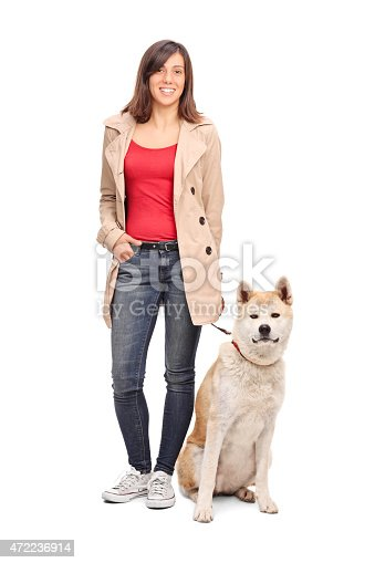 istock Full length portrait of a young girl posing with dog 472236914