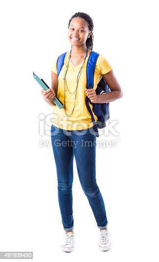 istock Full length portrait of African American high school girl 491939450