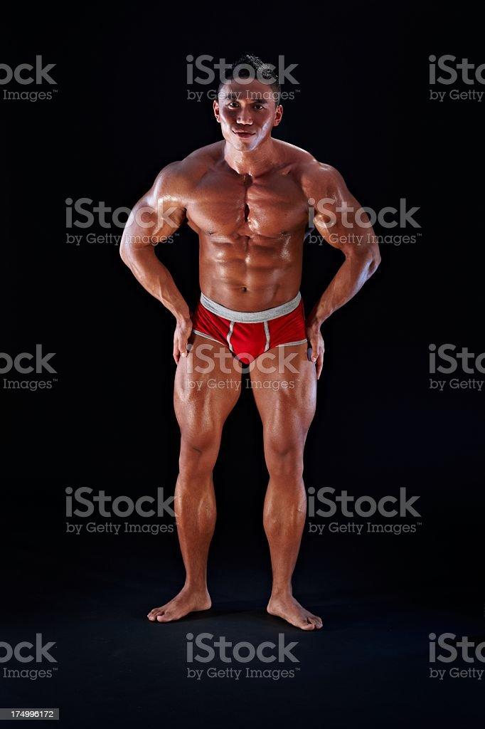 Full length portrait of asian male body builder royalty-free stock photo