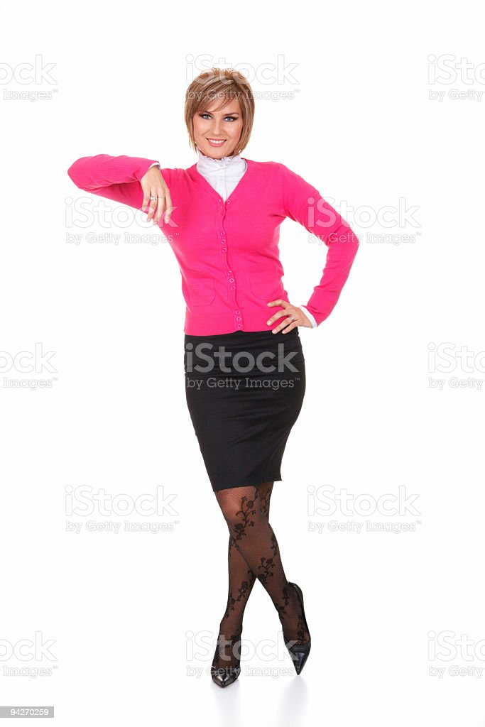 Full length portrait of businesswoman posing isolated on white background royalty-free stock photo