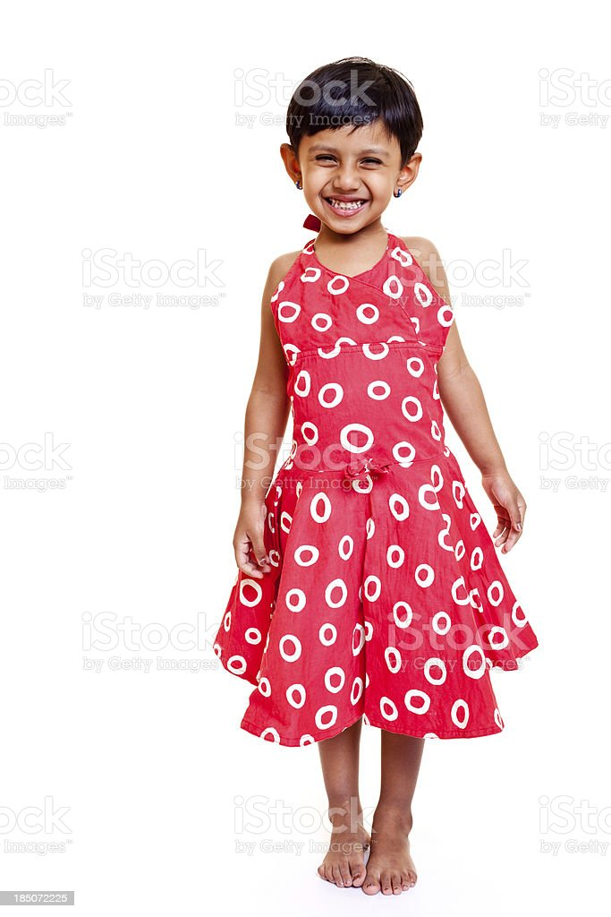 Full length Portrait of cheerful little Indian girl on white royalty-free stock photo