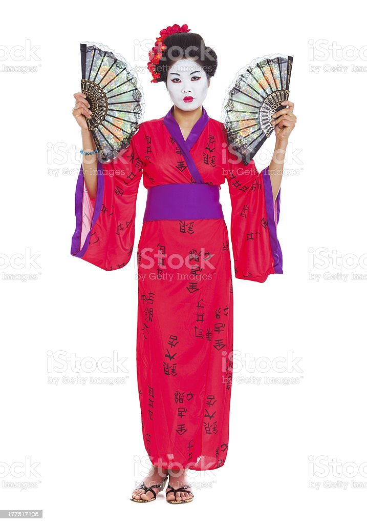 Full length portrait of geisha with fans isolated on white stock photo