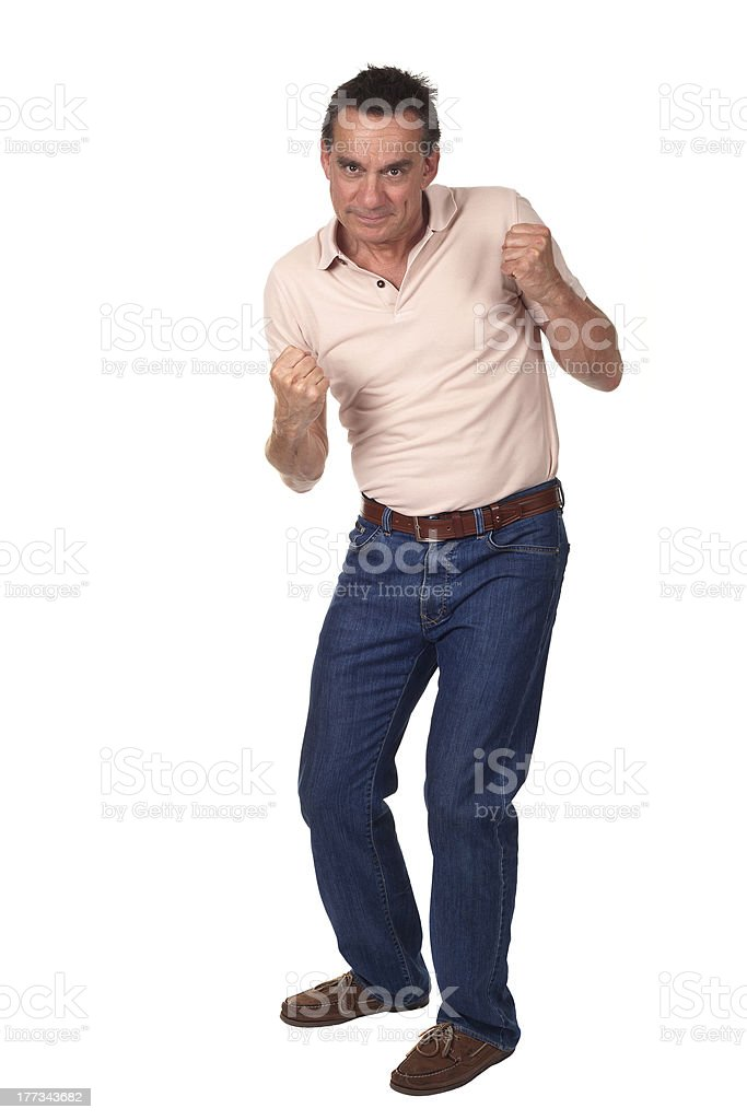Full Length Portrait of Handsome Man Fighting Punch Pose stock photo