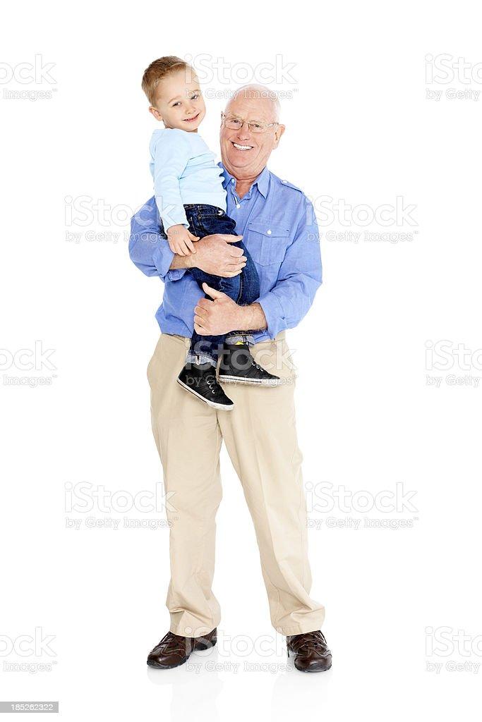 Retrato de cuerpo completo de feliz abuelo y nieto - foto de stock