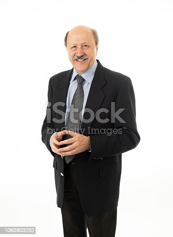 full length portrait of senior old businessman standing and looking smart and successful in elderly business and successful life work concept isolated on white background.