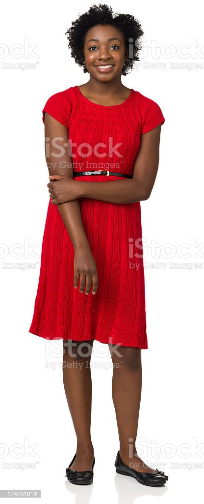 Full Length Portrait Of Smiling Young Woman stock photo