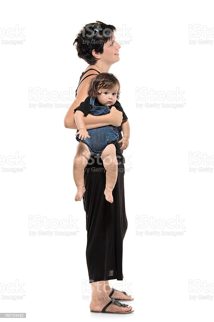 Full length portrait of woman with her baby stock photo
