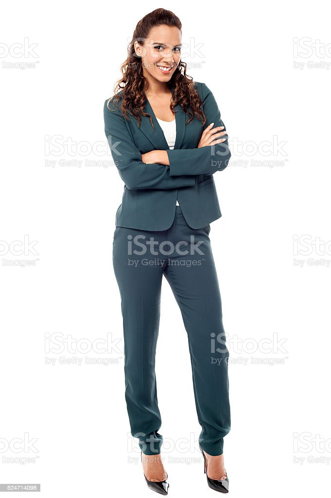 Full length portrait of young business woman stock photo