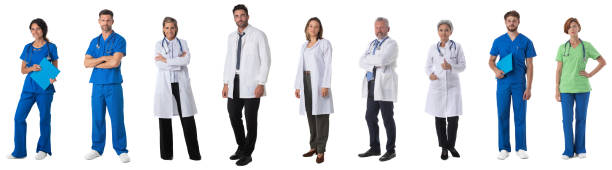 Full length portraits of doctors stock photo