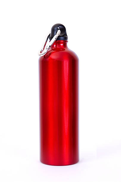Full length red waterbottle stock photo