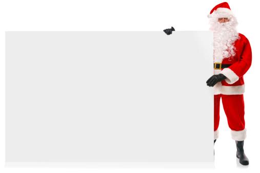 istock Full length Santa holding large blank sign 178513918