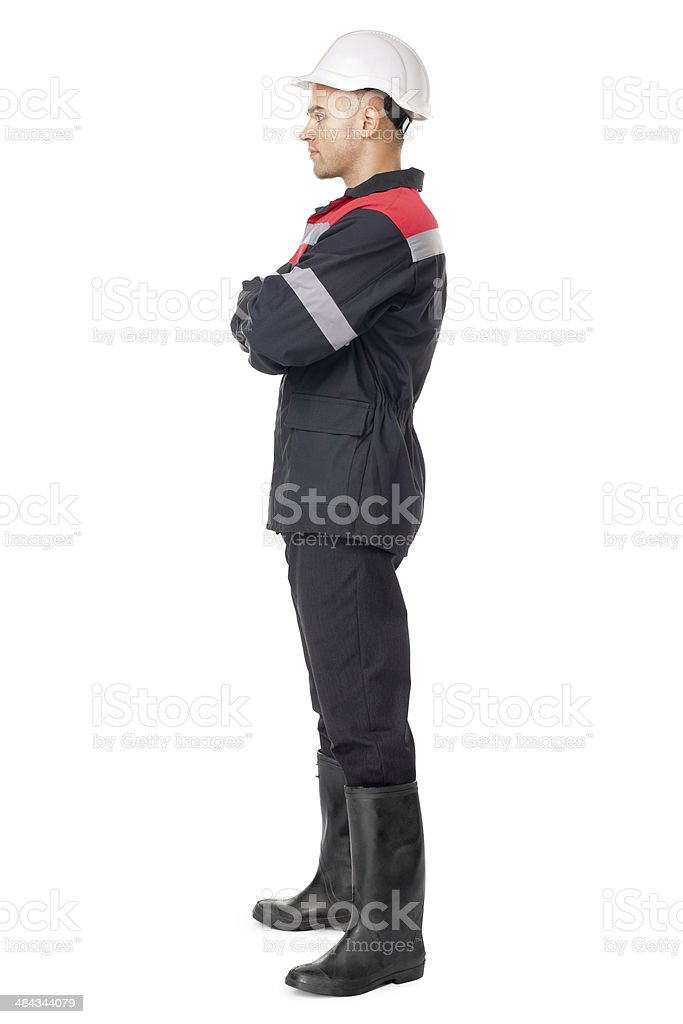Full length side view portrait of young worker stock photo