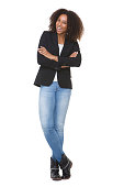 istock Full length smiling african american woman with arms crossed 522821805