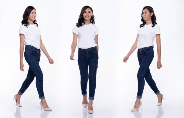 full length snap figure, asian woman wear casual white shirt blue jean, she 20s walks and acts in many poses direction on high heel shoes, studio lighting white background isolated collage group - ritratto 360 gradi foto e immagini stock