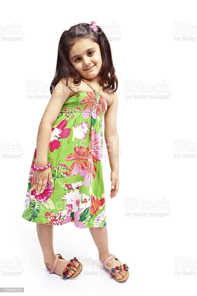 Full Length Stylish Little Indian Girl Isolated on White royalty-free stock photo