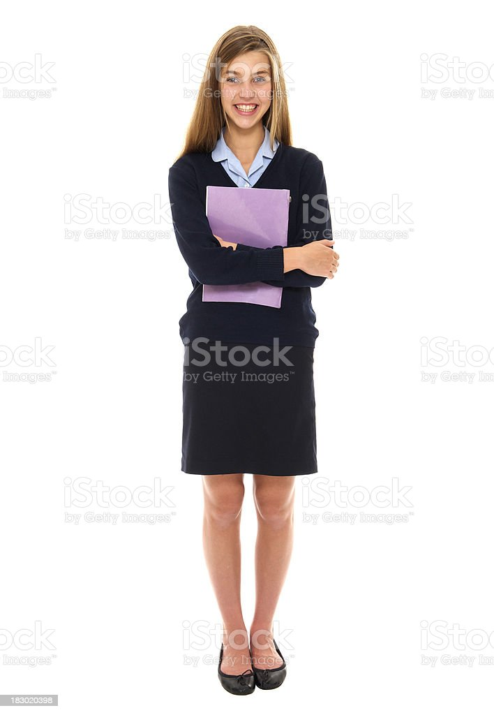 Full length teenage schoolgirl royalty-free stock photo