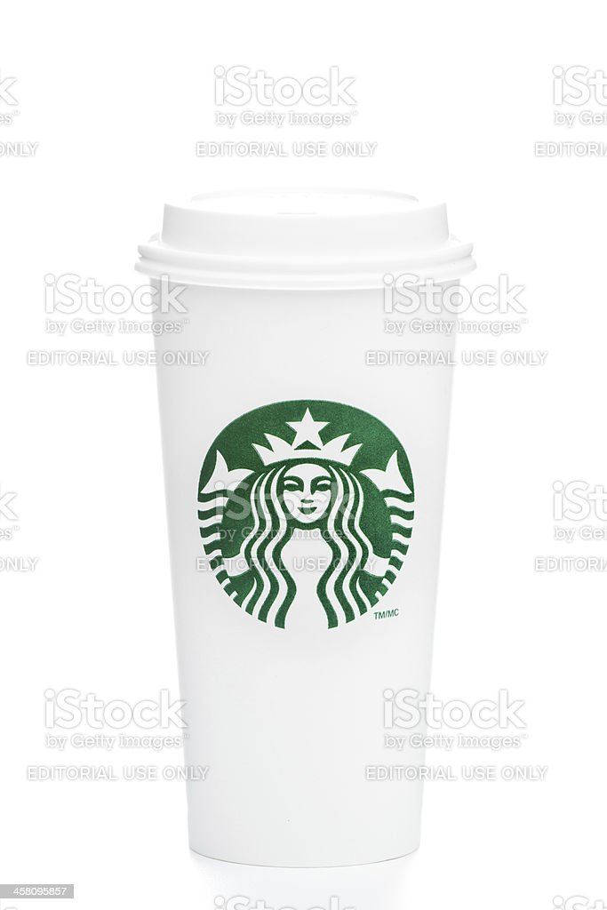 Full length Venti Starbucks take out coffee cup on white royalty-free stock photo