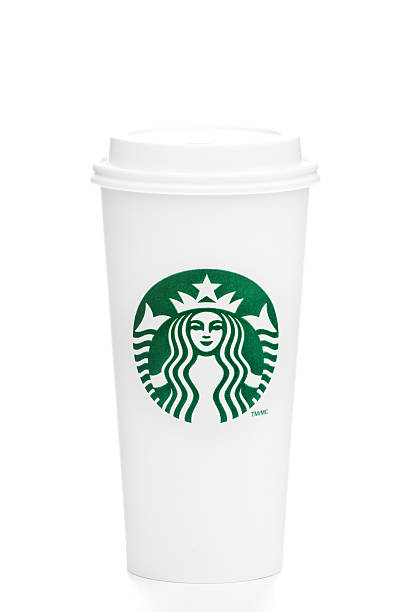 Full length Venti Starbucks take out coffee cup on white stock photo