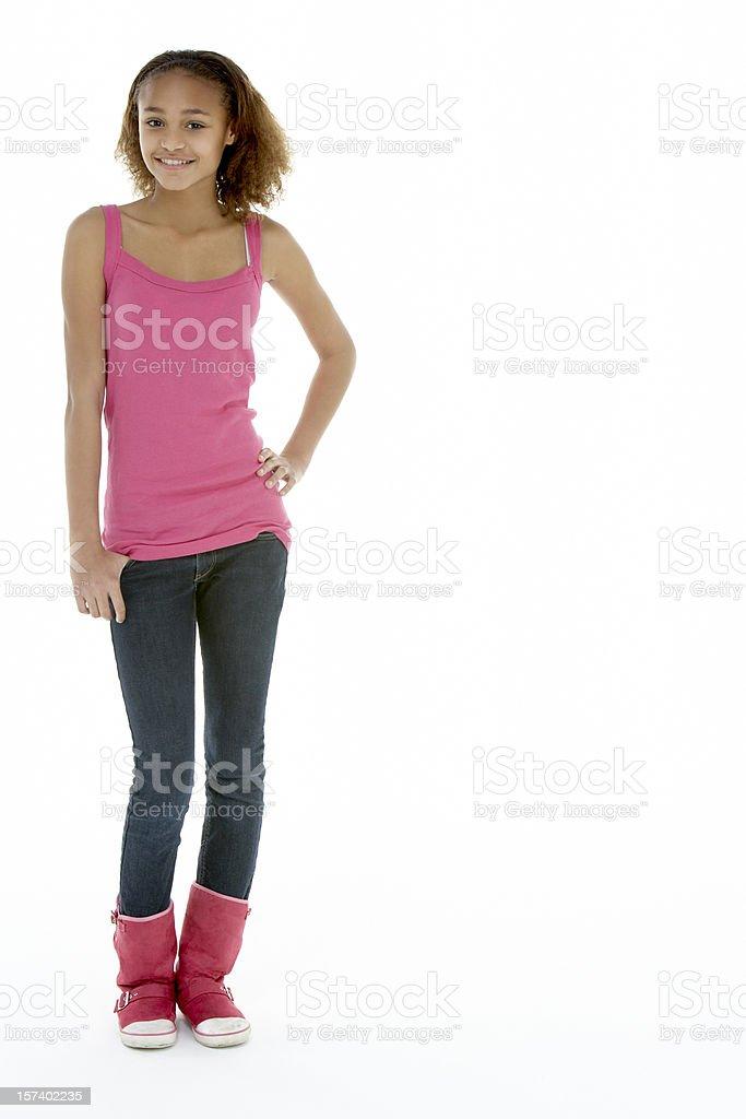 Full Length View Of Teenage Girl In Studio stock photo