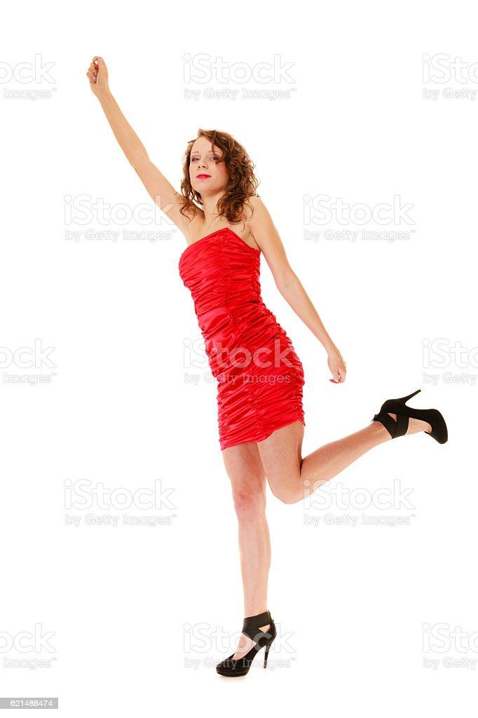 Full length woman in elegant red dress photo libre de droits