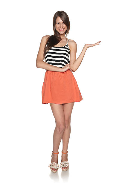 full length woman showing blank copy space - skirt stock photos and pictures