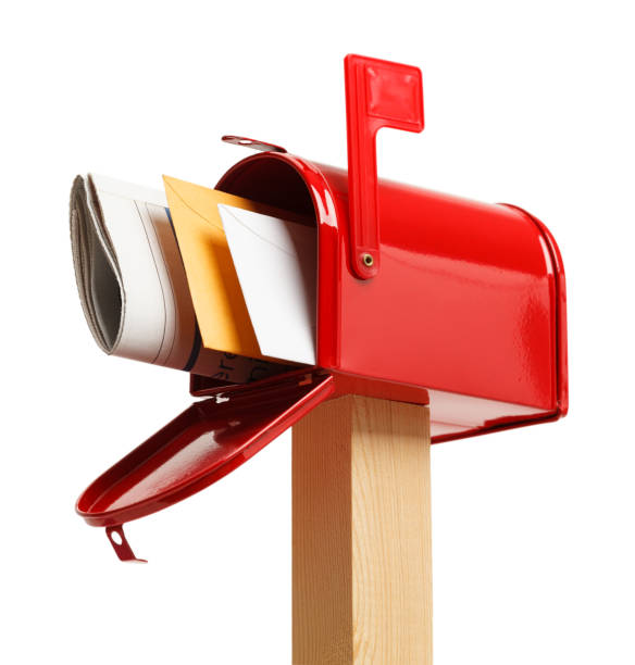 Full Mailbox Below Red Mailbox with mail Isolated on White Background. mailbox stock pictures, royalty-free photos & images