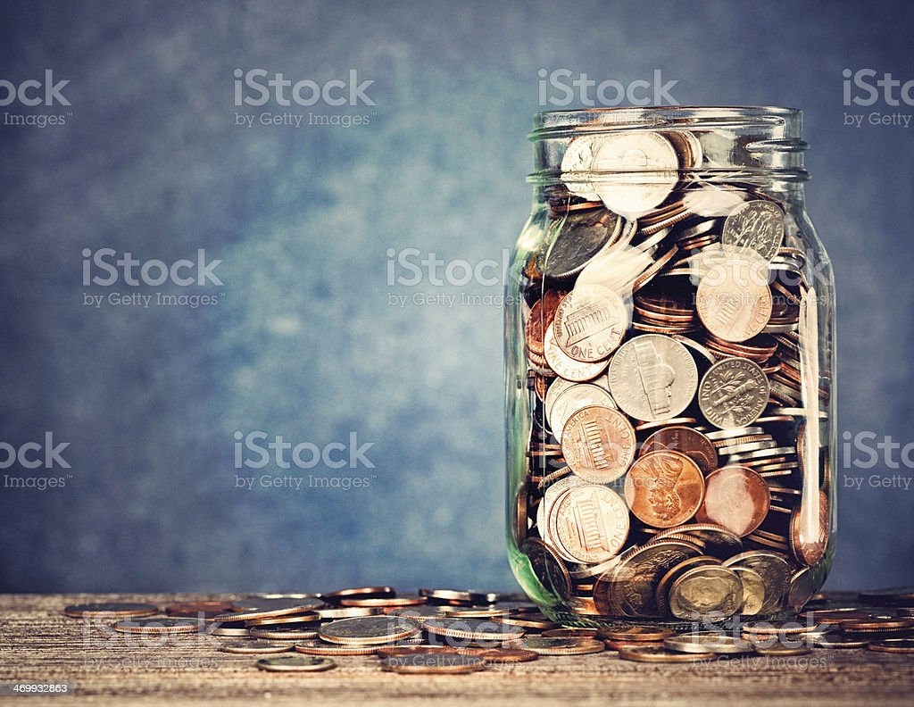 Full Money Jar stock photo
