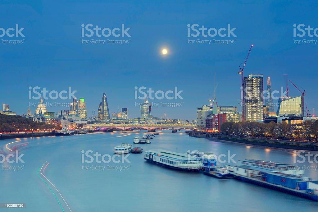 Full moon above London stock photo