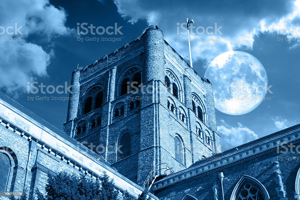 Full Moon Against Gothic-style Church royalty-free stock photo