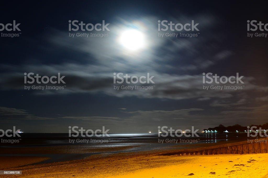 Full Moon and Beach Night Scene stock photo