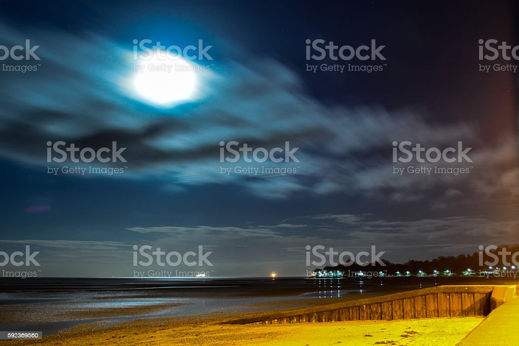 Full Moon and Beach - Ryde, Isle of Wight stock photo