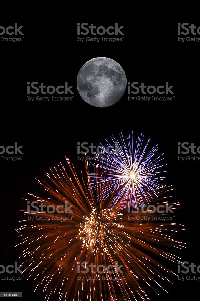 Full moon and fireworks stock photo
