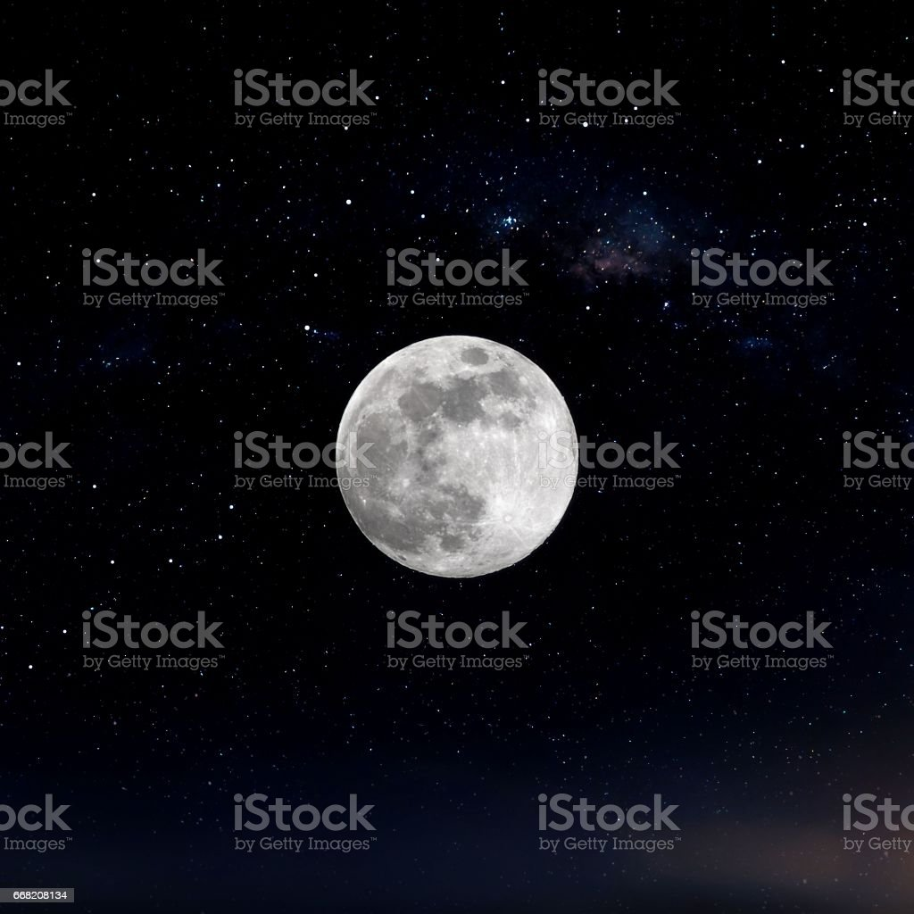 Full Moon and Stars stock photo