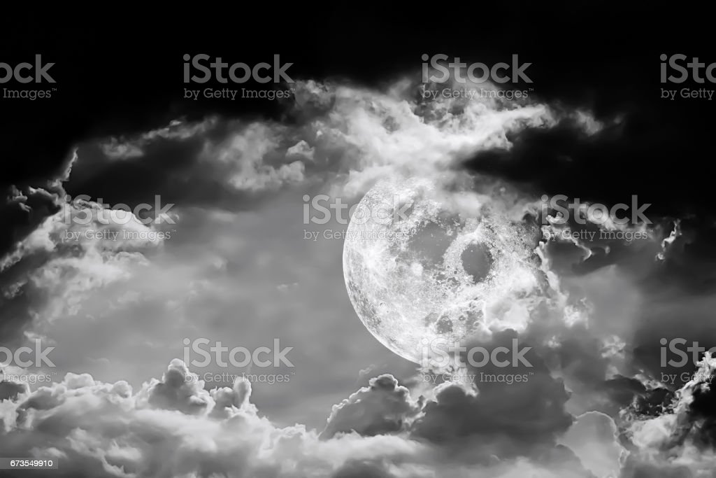Full Moon and the Dark Night.Element of Full moon image furnished by NASA. royalty-free stock photo