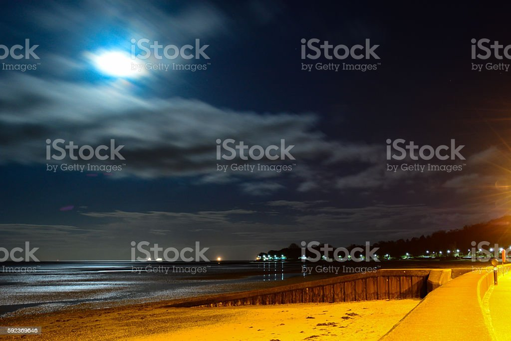 Full Moon at Appley Beach stock photo