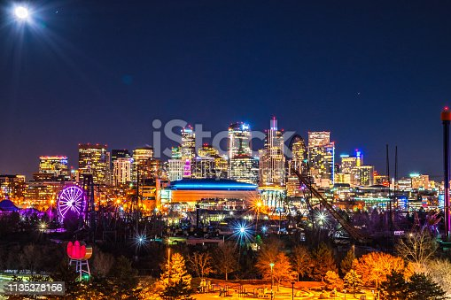 This was a collection of long exposures that I took with a full moon shining down on the downtown Denver skyline in Colorado