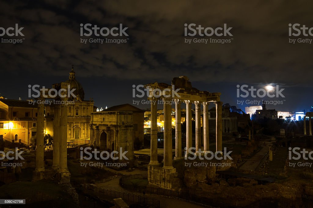 Full moon at the Forum Romanum royalty-free stock photo