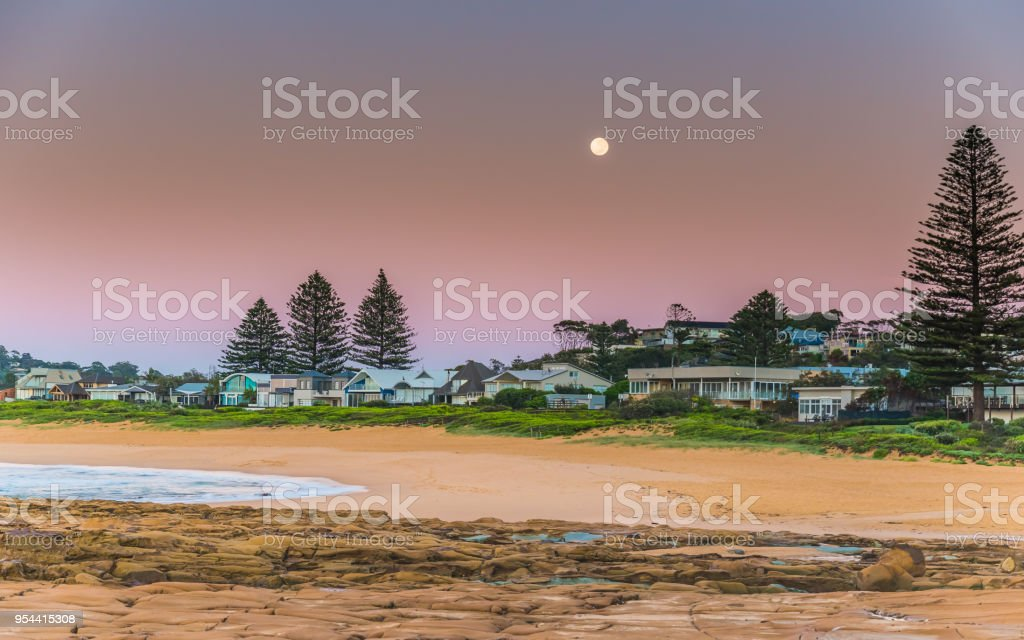 Full Moon at the Seaside stock photo